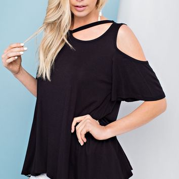 Round Neck, Open Shoulder Top with Neckline Cut Out Detail - Black