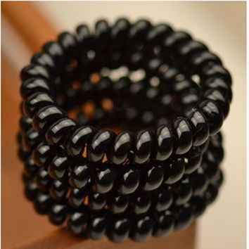 4pcs Black Color Telephone Wire Elastic Rubber Hair Gum Hairdressing Tools For Women Baby Hair Accessories Children Hair Ties