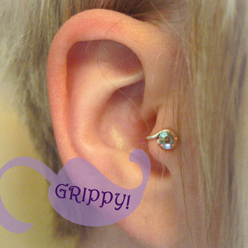 Right-Ear Starlight Crystal Tragus Cuff White Austrian Swarovski Crystal Silver Ear Cuff rainbow iridescent wire earring alternative