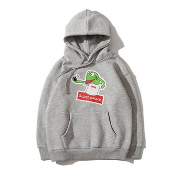 Super children's clothing big boy long sleeve frog print plus velvet hooded children's sweater[989107847204]