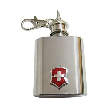 Red Shield Cross 1 Oz. Stainless Steel Key Chain Flask