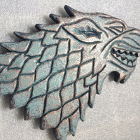 """Game of Thrones - Wall Plaque - House of Stark. Patina/Copper/Bronze - 9"""" (23cm)"""
