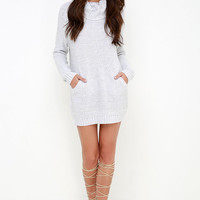 Foggiest Idea Light Grey Sweater Dress