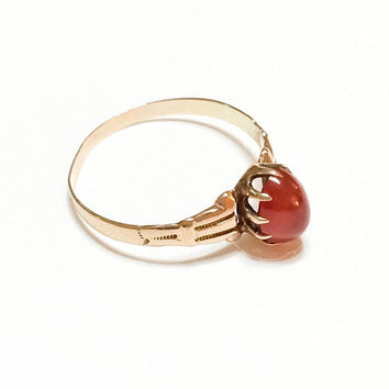 14K Rose Gold & Carnelian Ring, Claw Setting, Victorian Gold Ring, Promise Ring, August Birthstone, Late 1800s, Size 6, Antique Jewelry