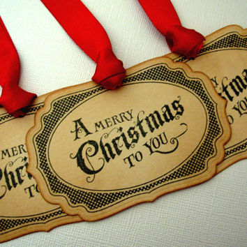 Christmas Gift Tags, Set of 6, Vintage Style, Hang Tags, Decorations, Favor, Place Setting, Red, Luxury Tags, Choose Ribbon Colours
