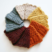 FREE SHIPPING - Perfect Fall Crochet Boot Cuff - Speckled Tan, Gold Mustard Yellow, Burnt Orange, Speckled Maroon, Heather Gray - Add a Bow