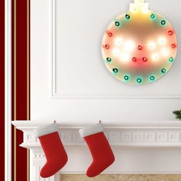 Christmas Ornament Vintage Marquee Lights Sign – Style 2 (White Finish)