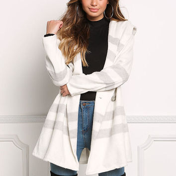 Ivory Stripe Hooded Fuzzy Textured Coat
