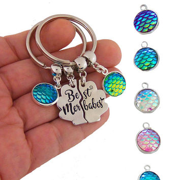 Best merbabes keychains, best friends keychain set, best friend gifts, best friend key chain, mermaid friendship key chains, long distance