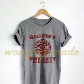Gallifrey University Shirt Black Grey Maroon and White Color Tshirt