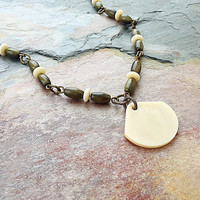 Tagua Nut Jewelry - Tagua Necklace - Large Fan Pendant - Nut Jewelry - Ecofriendly Jewelry