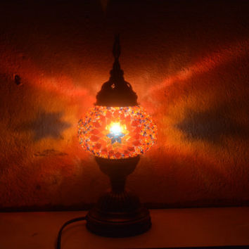 Moroccan, Lantern, Table Light, Turkish Lamp, Night Shade, Mosaic Glass, Lamp