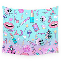 Society6 Girly Pastel Goth Witch Pattern Wall Tapestry