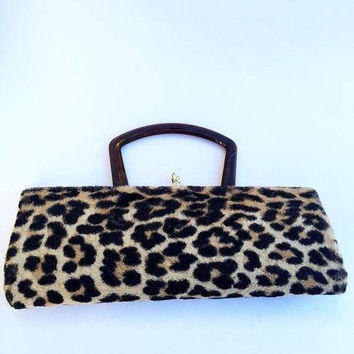 On Sale 1960's Vintage Leopard Faux Fur Handbag & Matching Hat Retro Rockabilly Mid Century Purse Old Hollywood Regency Glamour Style