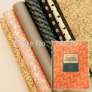 ENOGREETING Vintage Style Decorative Gift Wrapping Paper Book of different Designs Festival Gift Packing Paper Kit 24sheets/lot