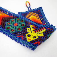 Peyote Cactus Jewelry, Psychedelic Jewelry, Peyote Seed Stitch Bracelet, Mexican Jewelry