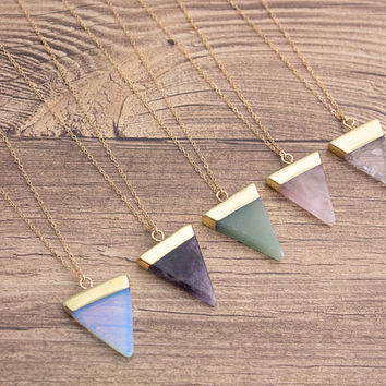 Gemstone Triangle Gold Filled Necklace- Opalite/ Amethyst/ Aventurine/ Rose Quartz/ Rock Quartz