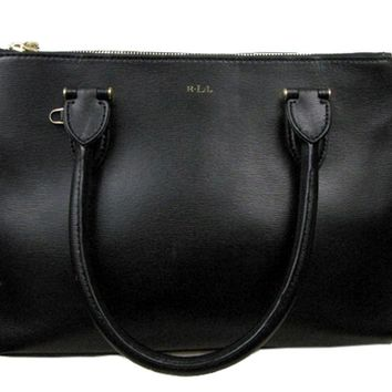Ralph Lauren Black Double-Zipper Medium Satchel