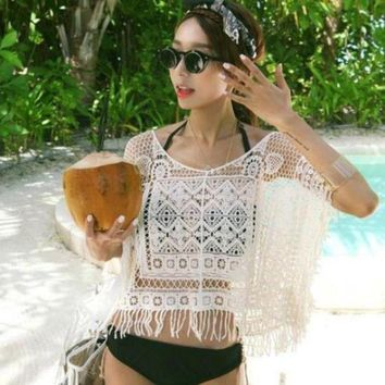 PEAPGC3 2017 New Woman Swimsuit Cover-Ups Swimwear Dress Crochet See Through Sheer Sexy Womens Hollow Out Cropped White Free Shipping