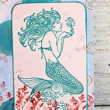 Turquoise Mermaid Journal, Blank Lined Notebook, Altered Composition Book, Travel and Vacation Planner, Personal Diary, Gift for Writers