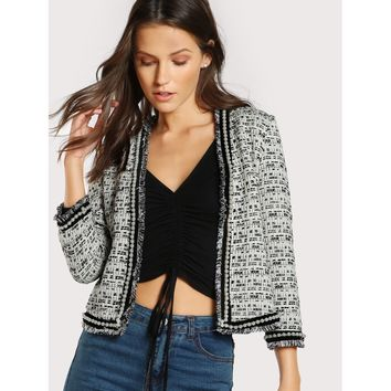 Black And White Pearl Beaded Frayed Edge Tweed Blazer