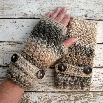 Women's Crochet Fingerless Gloves, Crocheted Fingerless Gloves, Caramel Brown, Winter Gloves