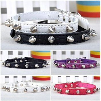 Adjustable Leather Neck Strap Buckle Rivet Studded Spiked Studded Collar Dog Puppy Pet Collar = 1929608772