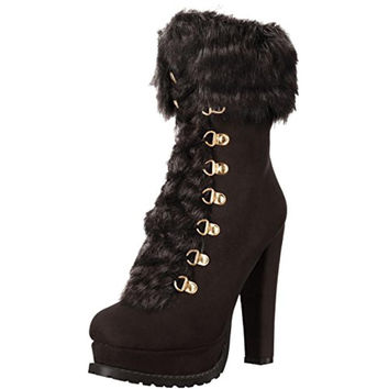 Luichiny Womens Stand By Faux Suede Faux Fur Booties