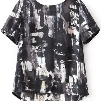 Black Ink Printed Short Sleeve T-Shirt