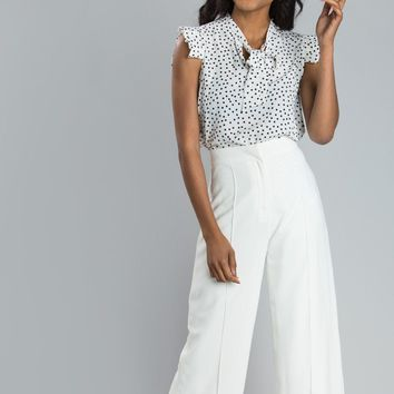 Mellie White Polka Dot Sleeveless Blouse