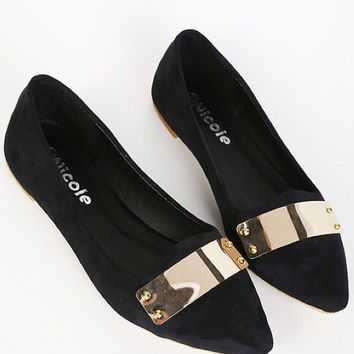 Golden Causal Point Lady Fashion Shoes