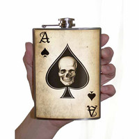 Flask 8oz Ace of Spades Stainless Steel by trixieandmilo