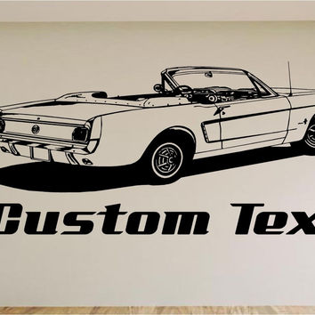 1965 Ford Mustang Car Wall Decal - Auto Wall Mural - Vinyl Stickers - Boys Room Decor