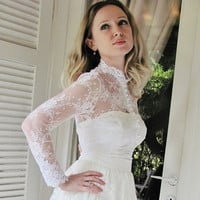 Royal Elegance white bridal lace top white lace blouse bridal bolero jacket wedding bolero wedding shrug