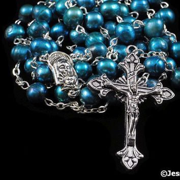 Traditional Rosary Catholic Pearl Freshwater Blue Green Spruce Silver