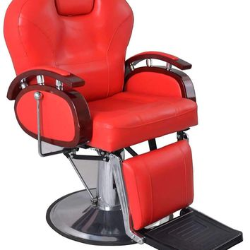 Exacme Hydraulic Recline Barber Chair Salon Beauty Spa Shampoo Chair Red 8705RD (Red)