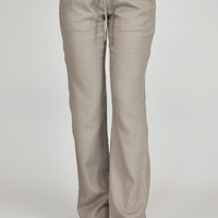 Elastic Band Linen Pants