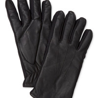 John Ashford Faux-Leather Text Gloves