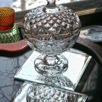 Zajecar Lead Crystal Vintage Glass Candy Dish, Compote with Lid