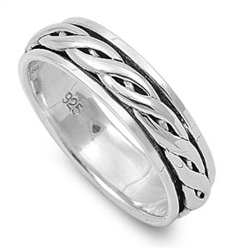 925 Sterling Silver Wicca Celtic Weave Spinner Ring 6MM