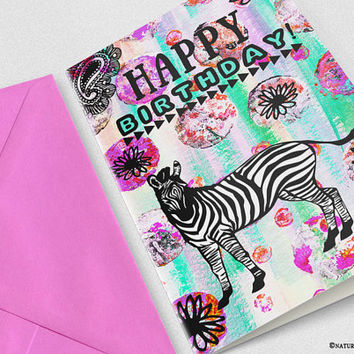 Zebra Card-zebra birthday card-colorful zebra card-handmade card-funny animal card-4x6 card-Invitation-greeting card -NATURA PICTA-NPGC102