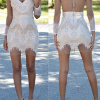 White V-Neck Cut Out Lace Mini Dress