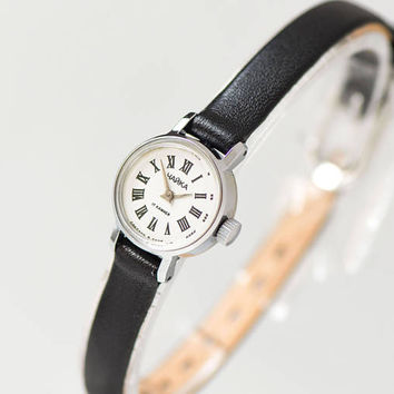 Tiny women's watch - mint condition wristwatch Seagull - classical watch for lady - micro jewelry watch gift her - new premium leather strap