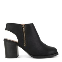 Open Heel Ankle Boot with Side Zipper Detail
