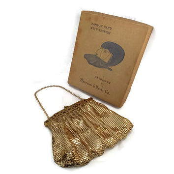 Whiting and Davis Gold Mesh Purse - Original Box, Art Deco, Metal Mesh, Intricate Frame, Gold Metal Strap, Evening Bag