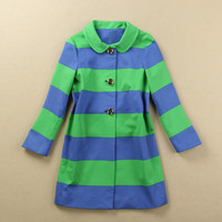 Striped Print Peter Pan Collar Single-Breasted Coat