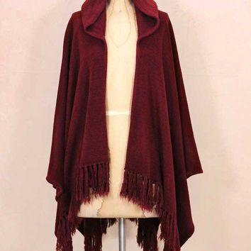 Look by M Hooded Poncho in Burgandy for Women SM226-BURG