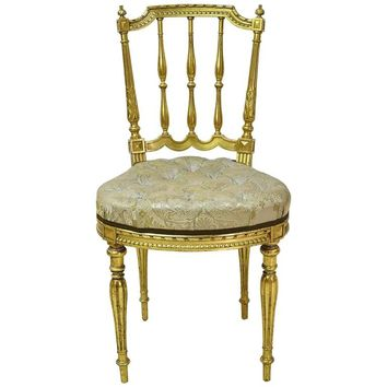 Belle Époque French Gilded Salon Chair with Spindle-Back and Upholstered Seat
