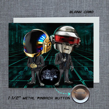 Daft Punk Blank Card with Pin Back Button