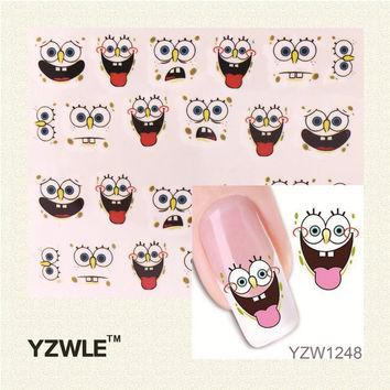 YZWLE 3D Design Cute DIY Cartoon Nail Tips Water Transfer Nail Stickers Watermark Nail Decals Manicure Tools